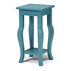 Kate and Laurel Lillian Wood Pedestal End Table Curved Legs with Shelf, Teal