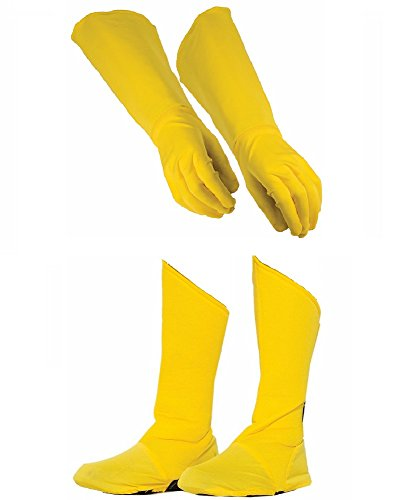 Child Superhero Yellow Shoe Covers Boot Tops and Gauntlet Gloves Costume Kit -