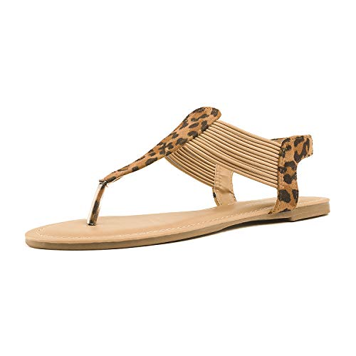 Leopard Thong Sandal - DREAM PAIRS SPPARKLY Women's Elastic Strappy String Thong Ankle Strap Summer Gladiator Sandals New Leopard Size 9