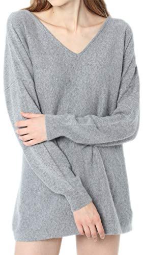 Ailaile Autumn Winter New 100% Cashmere Sweater Women V-Neck Loose Pullover Female Sexy Wool Tops (Medium, Gray)