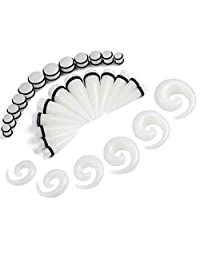 BodyJ4You 36PC Big Gauges Kit Ear Stretching 00G-20mm Acrylic Spiral Tapers Plugs Body Piercing Set