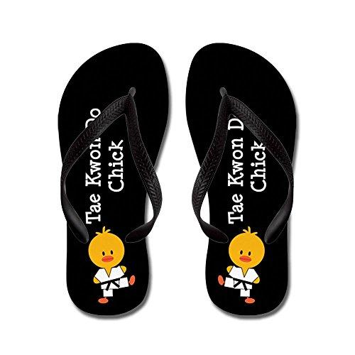 (CafePress - Tae Kwon Do Chick - Flip Flops, Funny Thong Sandals, Beach Sandals Black)
