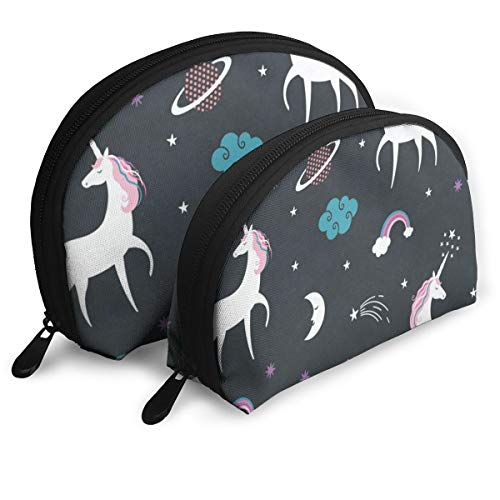 (Makeup Bag Unicorn Solar System Portable Shell Toiletry Bags Holder For Women)