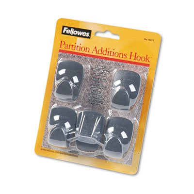 Plastic Partition Additions Hooks, 1 1/4 x 1 7/8, Graphite, 5/Pack, Sold as 1 Package, 8PACK , Total 8 Package by Fellowes (Image #1)