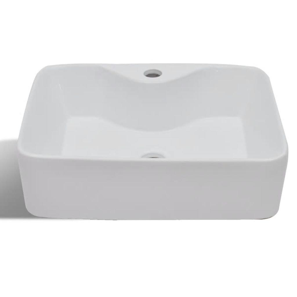 vidaXL Lavabo Cuadrado Orificio de Grifo y Desagüe Cerámica Blanco Lavamanos