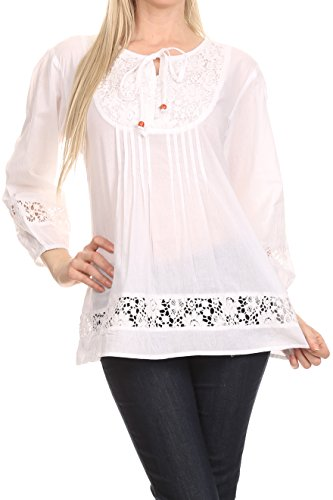 - Sakkas 1428 - Echo Long Lightweight Embroidered Blouse Top with Bell Sleeves - White - L/XL