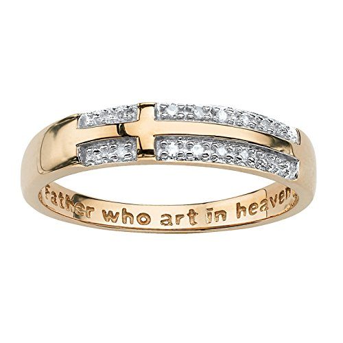- White Diamond Accent 10k Yellow Gold Lord's Prayer Cross Ring (.06 cttw, HI Color, I3 Clarity)