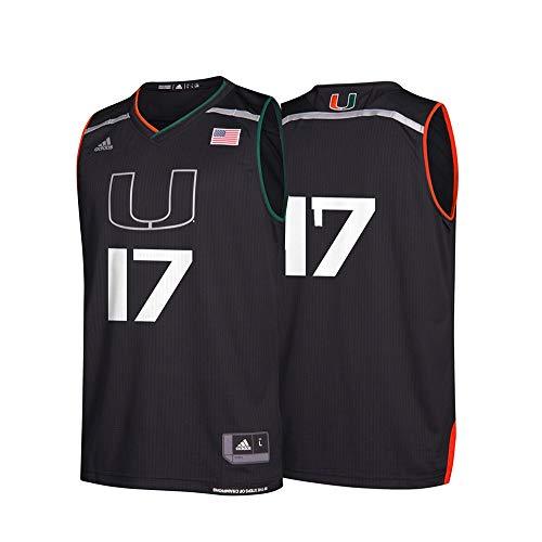 (adidas Men's NCAA Miami Hurricanes Replica Basketball Jersey, Black 17,XL - US)