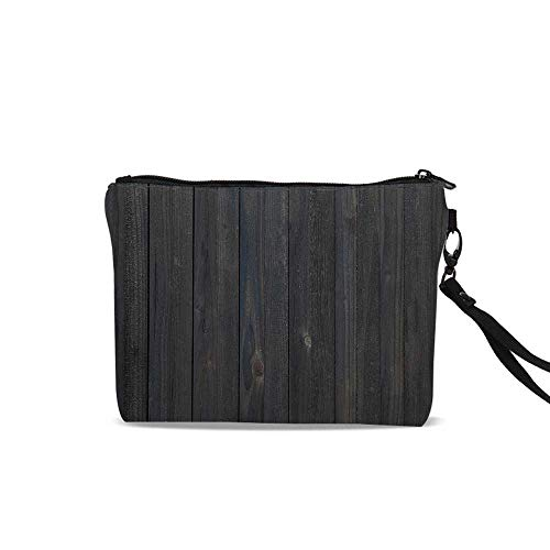 Dark Grey Portable Travel Makeup Cosmetic Bags,Wood Fence Texture Image Rough Rustic Weathered Surface Timber Oak Planks Decorative For Women Girl,9
