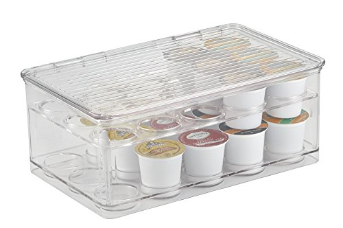 mDesign Stackable K-Cups Coffee Pod Holder with Lid for Kitchen Pantry, Countertops - 2-Tier, Holds 29 Capsules, Clear (Pod Container)