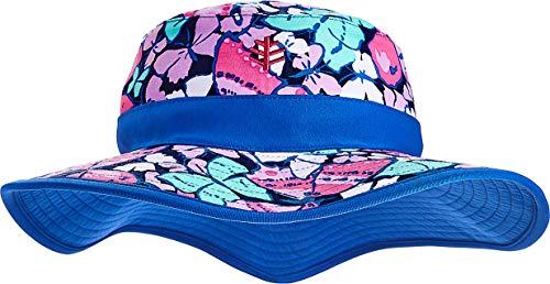 Hat Bucket Butterfly - Coolibar UPF 50+ Girls' Reversible Surf Bucket Hat - Sun Protective (Small/Medium- Multicolor Butterflies)
