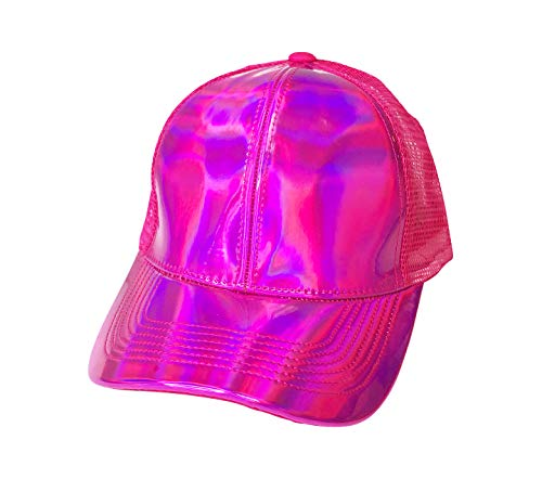 Holographic Hats Reflective Trucker Hats - Rainbow Trucker Caps (Hot Pink Reflective) -