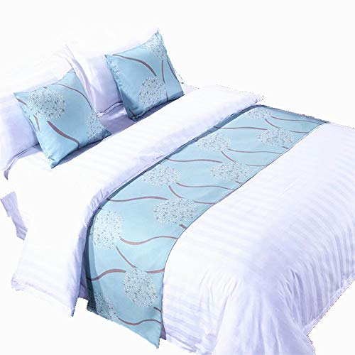 YIH Set of 1 Bed Runner 2 Cushion Covers Teal, Bedroom Scarf Country Style Bedding Decor Hotel Guesthouse, 94 inches 19 inches (Scarves Bed)