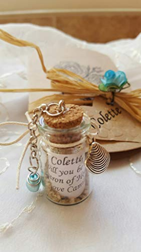 Beach Bridesmaid Proposal Blue Pearl Personalized Message in a Bottle Mini Bottle, Sea, Sand, Charm, Shell, Starfish, Seahorse Glass Vial, Wedding, Favor, Vial Will You Be My Maid of Honor, (Wedding Horse Invitations)