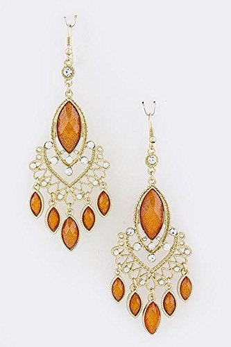 TRENDY FASHION JEWELRY TRIBAL OVAL FRINGE EARRINGS BY FASHION DESTINATION | (Orange) (Avon Dangling Earrings)