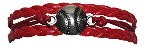 Leather Like Baseball Charm Multi Strand Bracelet Sports -