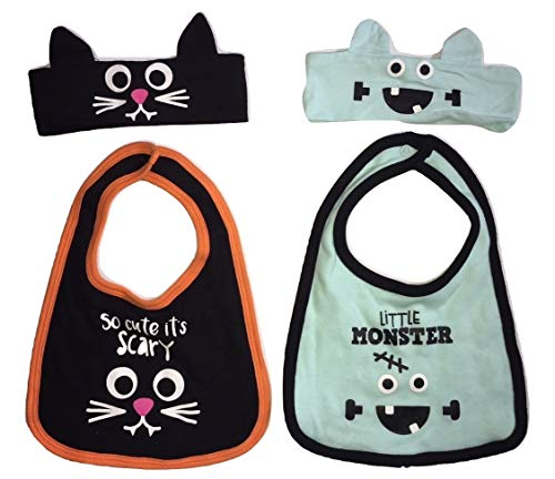 Baby Boy Girl My First Halloween Cat and Monster Bib and Headband Bundle ()