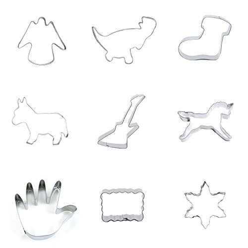 9 Pieces Cookie Cutter Biscuit Snowflake Snow Flake Ripple Rectangle Palm Unicorn Guitar Donkey Burro Boots Dinosaur Elf Angel