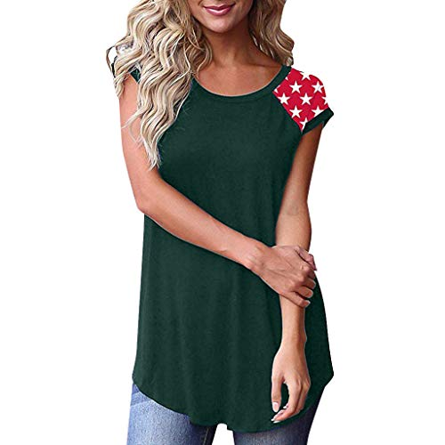 Toimothcn Women's Striped Basic Tees Round Neck Color Block Short Sleeve Loose Fit T-Shirt Tops with Pocket(Green1,M)