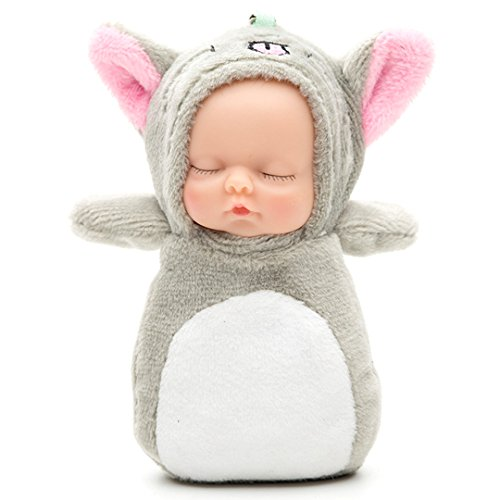 Doll Keychain - KINGSEVEN Adorable Mini Baby Dolls Keychain Sleeping Newborn Doll Little Plush Toy