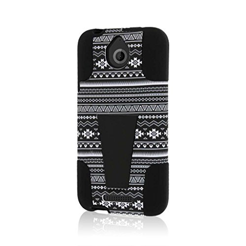 MPERO IMPACT X Series Dual Layered Tough Durable Shock Absorbing Silicone Polycarbonate Hybrid Kickstand Case for Desire 510 [Perfect Fit & Precise Port Cut Outs] - Black Aztec ()