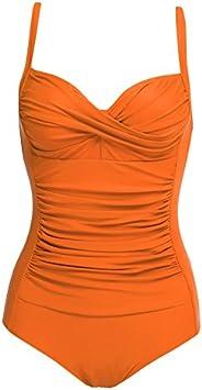 Ekouaer Womens One Piece Swimsuits Elegant Inspired Vintage Pin up Monokinis Tummy Control Swimwear Shirred Ba