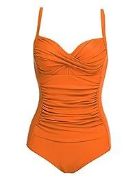 Ekouaer Womens Elegant Inspired Vintage One Piece Pin Up Monokinis Swimsuit(FBA)