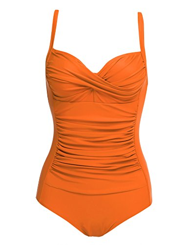 Ekouaer Elegant Retro-inspired Vintage One Piece Pin Up Monokinis Swimsuit Orange Large