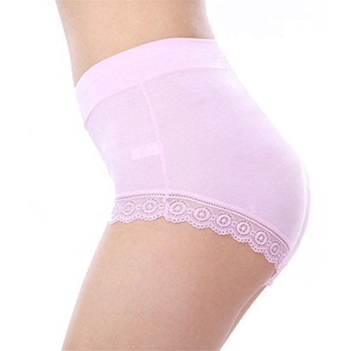 LY Womens Cotton Lace High Waist Comfy Covered Stretch Boyshort Panty Underpants