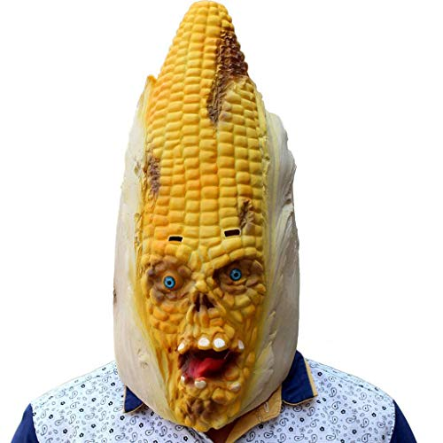 INOOY Halloween Costume Party - Latex Vegetable Head Corn Mask - Halloween Head Cover - Variation Corn Styling Mask - Funny Adult Party Party Supplies Masquerade ()