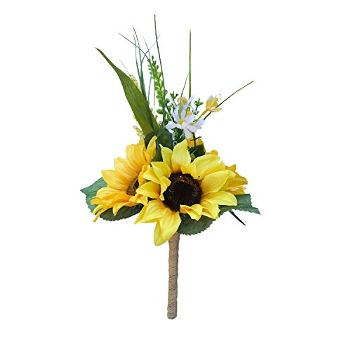 DALAMODA Small 14 Sunflower Bouquet-Artificial Silk Sunflowers,for Wedding Prom Bridal Bouquet or Bridesmaid Flower Pack of 1