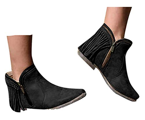Womens Ankle Boots Shoes Flat Wedge Short Tassel Boots Low-heele Zipper Non-Slip Shoes Short Boots by Gyouanime Black