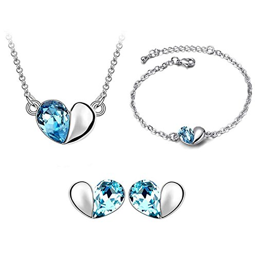 Silver-tone Love Heart Swarovski Elements Jewelry Set, Australia Import Crystal Necklace, Bracelets, Earrings Ensemble Fashion Jewelry - Australia Tracking To Usps