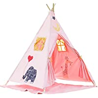 Battop Cotton Canvas Two Window Classic Style Kids Teepee Tent (Pink-Elephant)