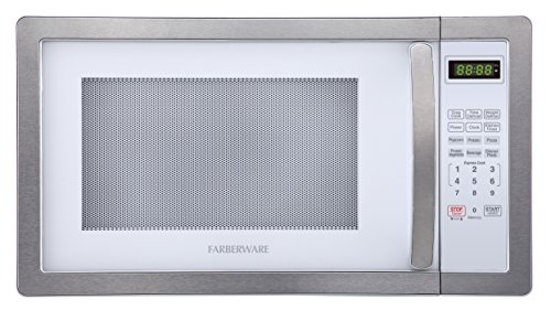(Farberware FMO11AHTBKD 1.1 Cu. Ft. 1000-Watt Microwave Oven with LED Lighting, Cubic Feet, White/Platinum)
