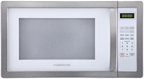 Farberware Classic FMO11AHTPLB 1.1 Cubic Foot 1000-Watt Microwave Oven, White/Platinum