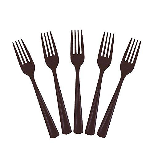 Exquisite Solid Color Premium Plastic Cutlery, Heavy Duty Plastic Disposable Forks - 50 Count - Black
