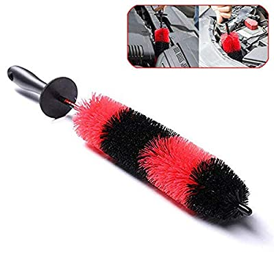 "BlackZero 17"" Long Brush Tire Washing Brushes for Wheel Detailing Rim Wash, 2.8'' Diameter Upgraded Soft Bristle No Scratches Wheel Cleaner for Car Detail, Motorcycle, Spoke, Engine Bay, Exhaust Tips: Automotive"