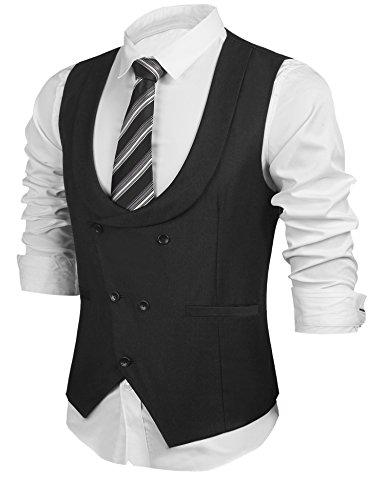 HOTOUCH Men's Double Breasted Vest Business Suit Vest Slim Fit Wedding Waistcoat (Black XXL)