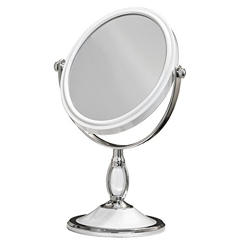 Large oval tabletop two sided swivel vanity makeup mirror for Oval swivel bathroom mirror