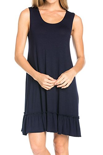 iconic luxe Women's Solid Tank Dress With Ruffled Hem Large Navy