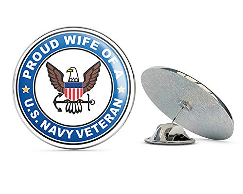 US Navy Veteran Proud Wife Military Veteran USA Pride Served Gift Metal 0.75