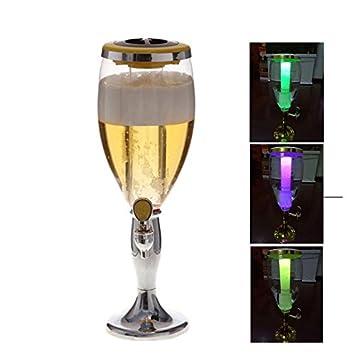 3L plástico cerveza Tower potable dispensador de bebidas con grifo y tubo de hielo para - Plata: Amazon.es: Hogar