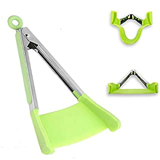 TangoLL Cooking Tongs and Spatula 2 in 1 Kitchen Aid & BBQ Gadget, Non-Stick, Resistant to Heat, Quality 430# Stainless Steel Frame, Food Grade Silicone and Dishwasher Safe (9 inch, green)