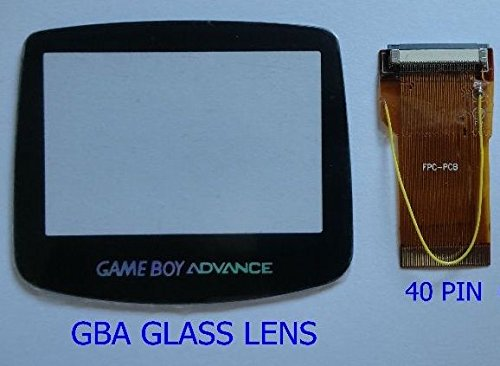 GBA Game Boy Advance 40 Pin Ribbon Cable Backlit Adapter & Glass Screen - Cracked Lens Glasses Repair