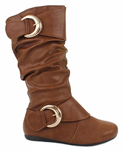 Leatherette Zipper (Women K-78 Tan Dual Buckle Leatherette Mid-Calf Casual Slouchy Zipper Boots-10)