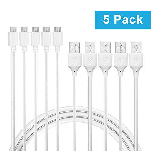 IBERLS (5-Pack) White 4ft Micro USB Camera Power Cord Adapter Extension Cable for GoPro Hero Session, WyzeCam,YI Dome, Nest Cam, Dropcam, TENVIS, Wansview, ieGeek, Amazon Cloud Cam Wireless HD Camera
