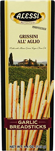 Breadsticks Thin - Alessi Garlic Breadsticks, 4.4 Ounce (Pack of 12)