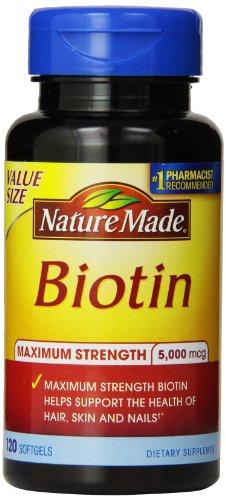 Природа Сделано максимальная прочность Биотин Значение Размер Liquid Softgel, 5000 мкг, 120 Граф