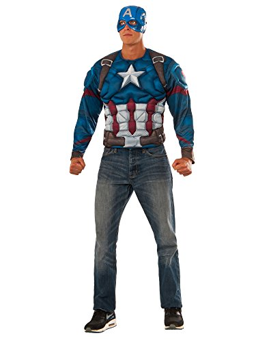 Rubie's Costume Co. Men's Captain America: Civil War Muscle Chest Costume Top, Multi, Standard